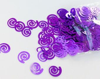 Purple spiral shaped table confetti