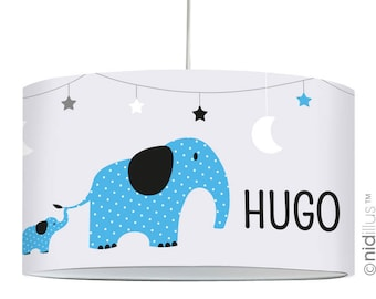 """Elephants"" - gray/blue pendant lamp"
