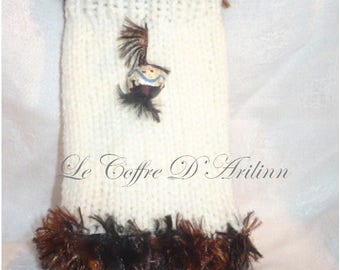Pouch / cell phone and smartphone knit cover and Pearl