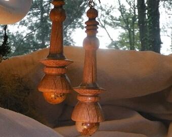 """""""Elégance"""" earrings turned beech-Jasper landscape-silver"""