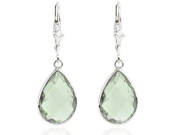 14K White Gold Handmade Gemstone Earrings With Dangling Pear Shape Green Quartz