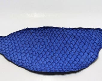 Genuine fish Tilapia leather night blue leather skin