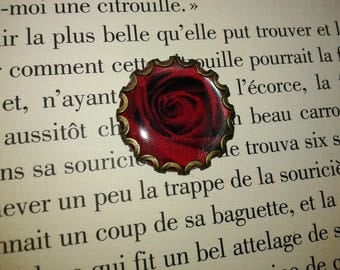 Support cabochon - bronze - red rose