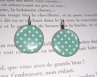 Earrings vintage style - dots - Green