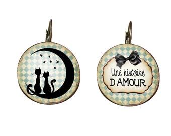 Earrings - fancy 'cats in love'