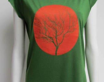 green women's t-shirt, short sleeves, Spring Green, tree pattern