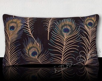 Rectangular pillow - large peacock feathers Turquoise/green Emerald/taupe/yellow/blue on ink.