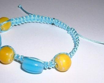 Blue Yellow Indian-inspired macrame bracelet