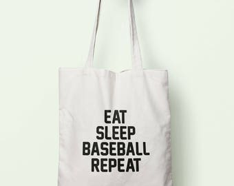 Eat Sleep Baseball Repeat Tote Bag Long Handles TB00669