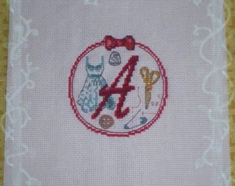 Monogram Embroidered handmade cross-stitch - Vintage sewing theme