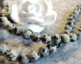 ☆ a Lot of 15 beads, 4 mm, Jasper Dalmatian ☆