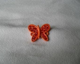 Butterfly rhinestone metal connector orange 20 x 20