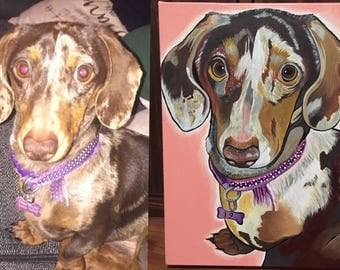 "Custom made pet portraits acrylic on Canvas (sizes:A4, Square 12"" x 12""(30.4 x 30.4cm), A3,A2)"