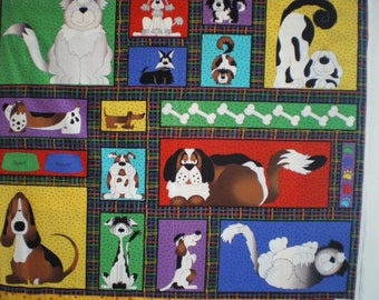 representative of dogs, colorful quilt Panel