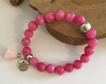 Bracelet beads pink Jade, silver beads and pale pink cotton tassel