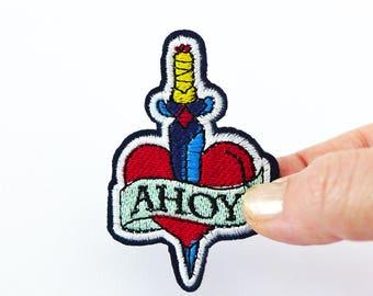 Dagger Heart Patch, Tattoo Flash Patch, Ahoy, Sailor Patch, Sailor Tattoo Patch, Heart Sword Patch Heart Applique