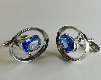 Beautiful Blue Rhinestone Cuff Links