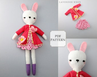 Felt Toy Pattern, Bunny Toy PDF, Plush Bunny Toy Pattern, Stuff Bunny PDF, Bunny Sewing Pattern, Plush Bunny Pattern, pdf Stuffed Bunny Toy