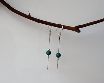 Turquoise Earrings, Drop Earrings, Real Turquoise Drop Earrings, Long Dangle Earrings, Silver turquoise earrings, December Birthstone
