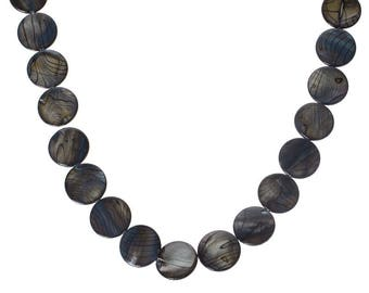 Set of 5 flat shell grey and black 20mm round beads