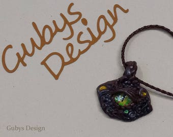 Polymer clay beads with a leather strap in Brown - dragon eye - fantasy - with glass eye - hand made