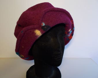 Plum boiled wool fabric Hat