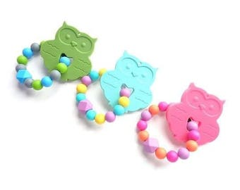 Teething rings beads silicone and OWL