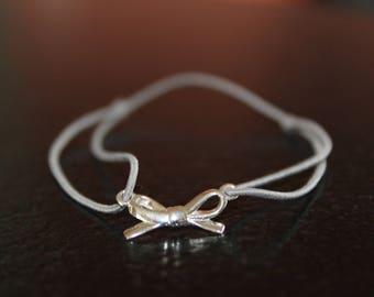 Gray bow 925 sterling silver bracelet