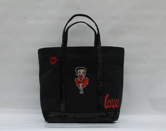 The black cotton canvas tote with sequins black model Betty Boop
