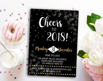 New Years Invitations, New Years Party Invitation, New Years Eve Invitation, Party Invitation New Year, Hello 2018 Party Invitation