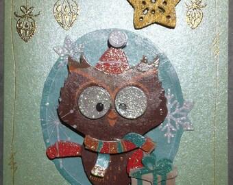Christmas card owl, green base