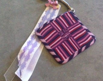 Striped pink and purple fimo Keychain large