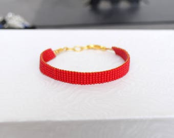 Matte red woven bracelet