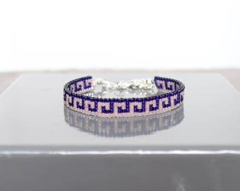 Dark and light purple woven bracelet with Miyuki beads
