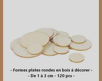 Flat round wooden shapes to decorate - 1 to 3 cm - 120 pieces.