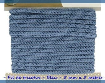 Wire knitting - blue - 5 mm x 5 meters