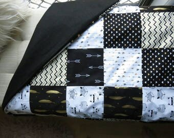 Black and White baby Quilt, Baby blanket, Modern Nursery