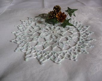 Handmade in ombre blue cotton lace doily