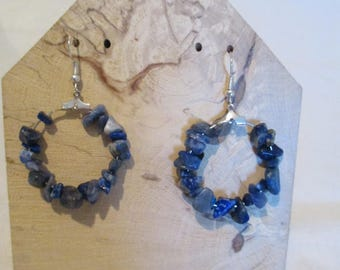 "hoop earrings with imitation ""lapis lazzuli chips beads"