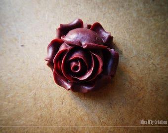 1 large Brown resin Rose flower Cabochon