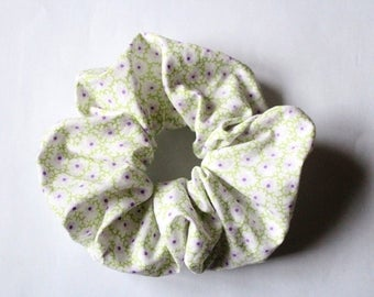 Fabric scrunchies purple and green flowers