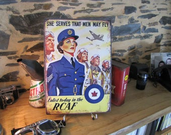 plated metal, reproduction poster WW2 royal canadian air force, deco cars