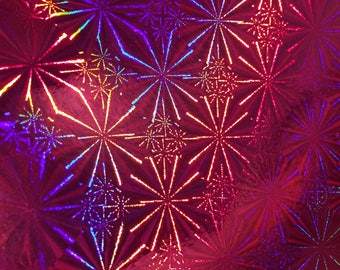 A4 paper recyclable holographic - different patterns - vivid - pink Fuchsia/snow flakes pattern