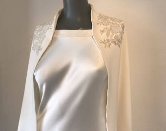 Heavy Silk Crepe Cape with Silver Lace Detail