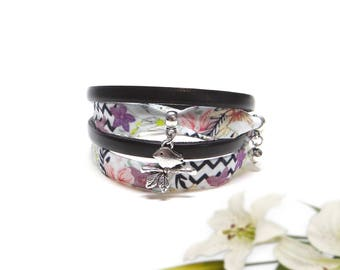 Bracelet two laps fabric Lily and black leather