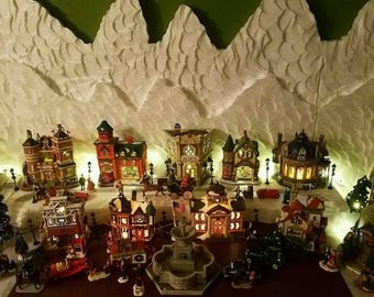 Christmas Village Snowy Mountain Background Display Lemax, Dept 56, North Pole