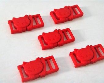 """5 Red Cat Collar Buckles - 3/8"""" Cat Head Breakaway Buckles - Cat Collar Parts"""
