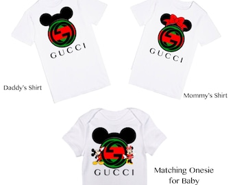 Gucci Matching Family Mickey Mouse and Minnie Mouse T-Shirts | 1st Birthday Party Keepsake | Designer Inspired