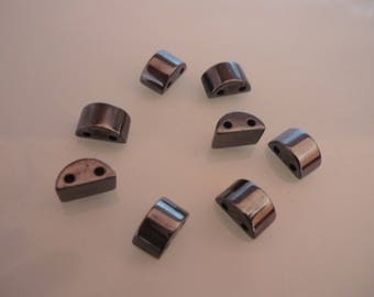 Black hematite beads 26 half circle 1 cm