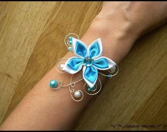Bridal flower JULINE turquoise Silver White Pearl bridal bracelet